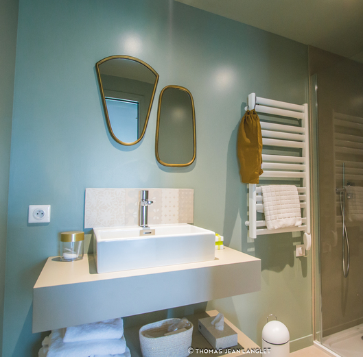 studio aux codes masculins coin salle de bain